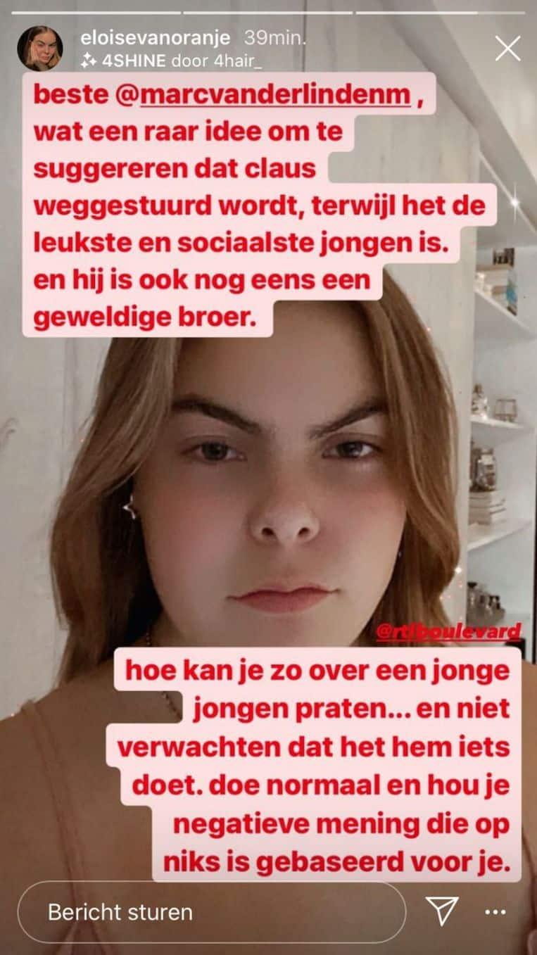 Gräfin Eloise verfasst eine Instastory gegen Marc van der Linden