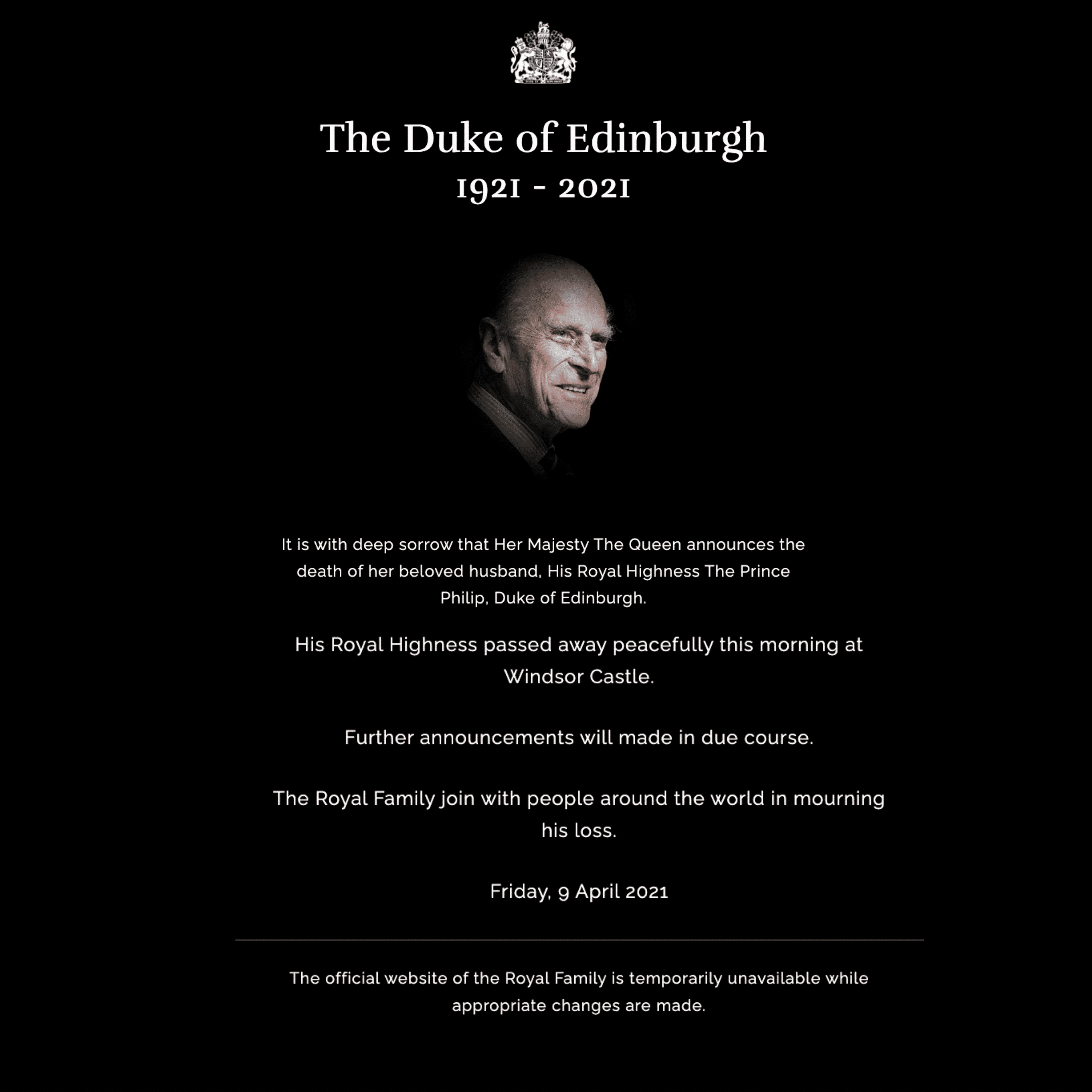 Webseite britische Königsfamilie